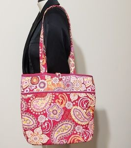 Vera Bradley quilted tote, red/pink paisley print
